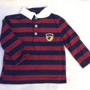 Child of mine white collar long sleeve polo shirt